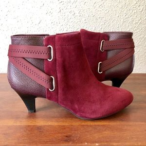 Alfani burgundy colored suede ankle boot.